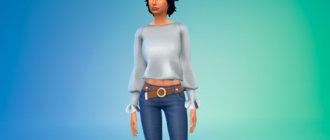Стильная блузка с длинными рукавами для Симс 4 - фото 1