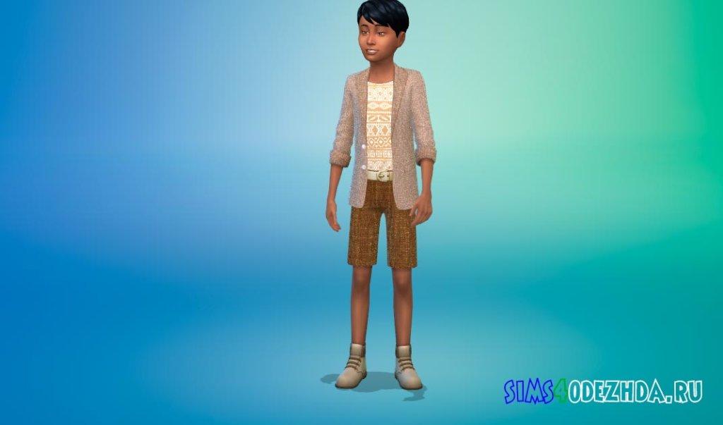 Тонкий костюм с короткими брюками и модной рубашкой Симс 4 - фото 1