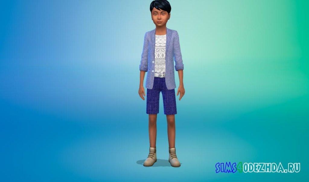 Тонкий костюм с короткими брюками и модной рубашкой Симс 4 - фото 2