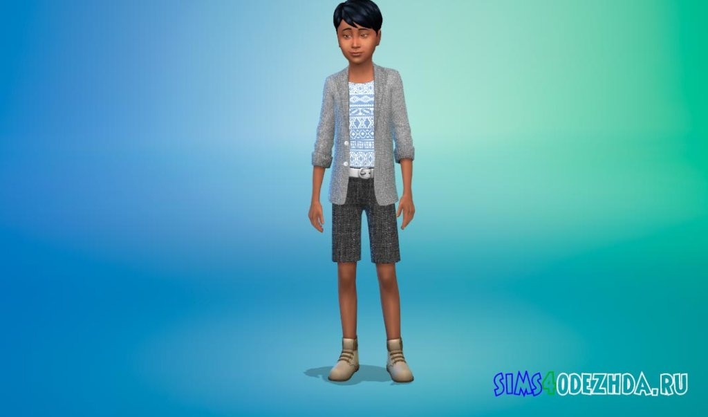 Тонкий костюм с короткими брюками и модной рубашкой Симс 4 - фото 3