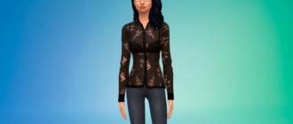 Черная прозрачная блузка для Симс 4 - фото 1