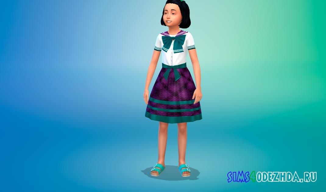 Школьное платье в аниме стиле Симс 4 - фото 1