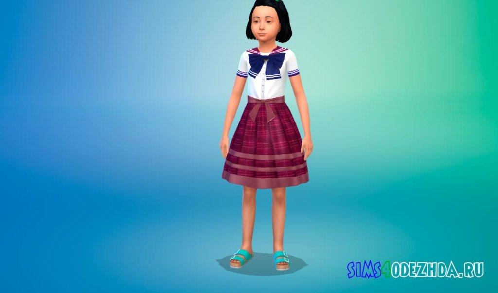 Школьное платье в аниме стиле Симс 4 - фото 3