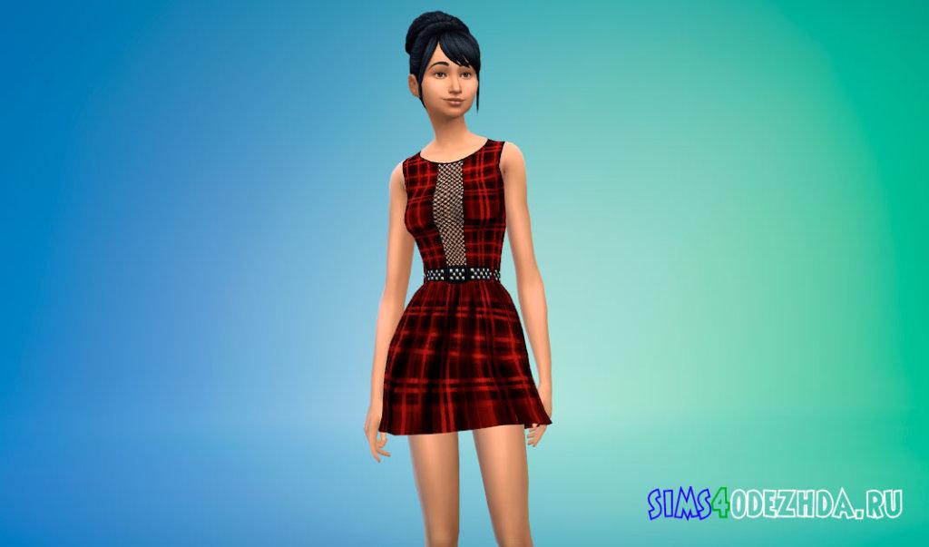 Школьное платье в клетку для Симс 4 - фото 1