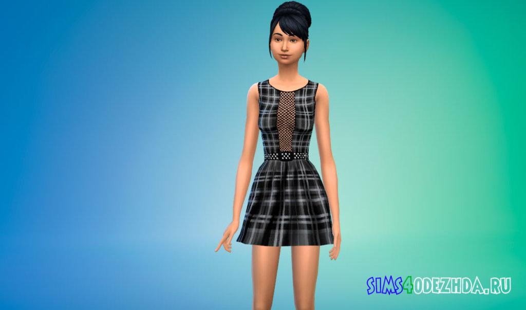 Школьное платье в клетку для Симс 4 - фото 3