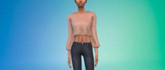 Элегантная женская блузка для Симс 4 - фото 1
