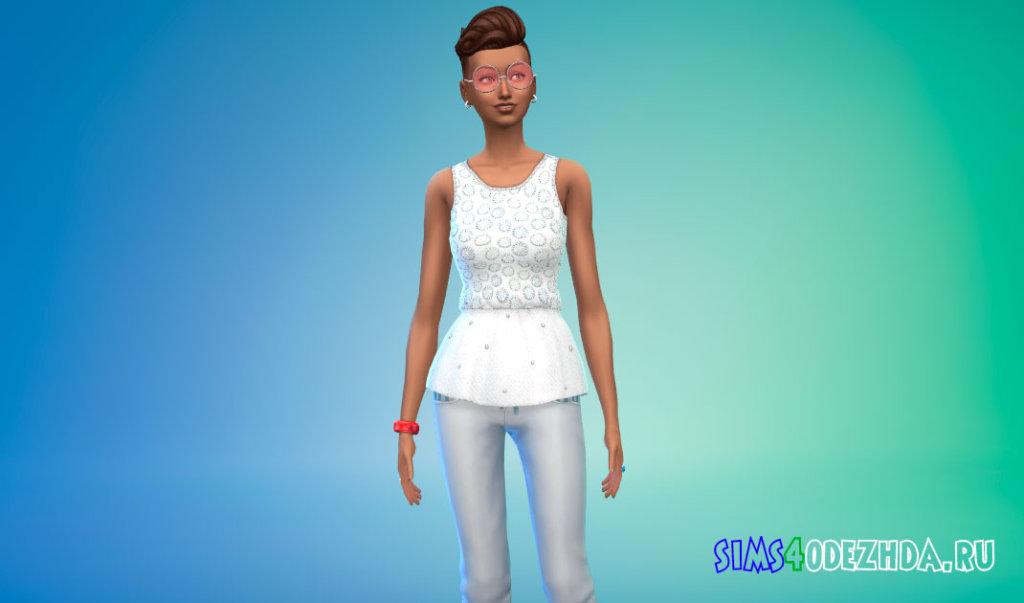 Яркая женская блузка для Симс 4 - фото 1