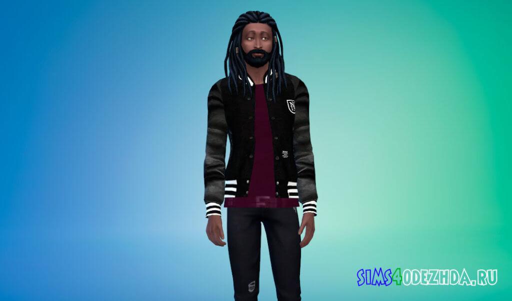 Бейсбольная куртка с кожаными рукавами для Симс 4 - фото 1