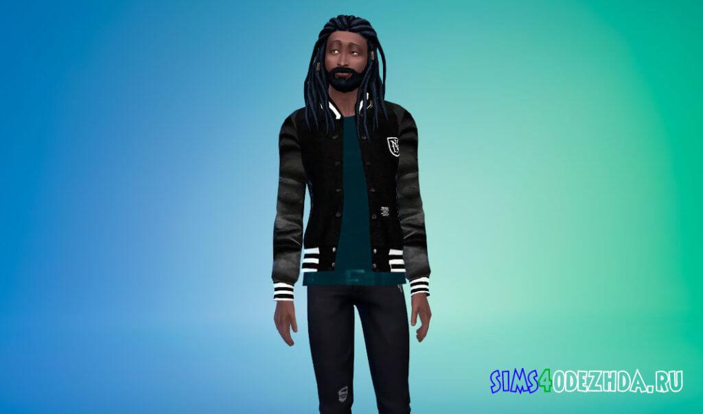 Бейсбольная куртка с кожаными рукавами для Симс 4 - фото 2