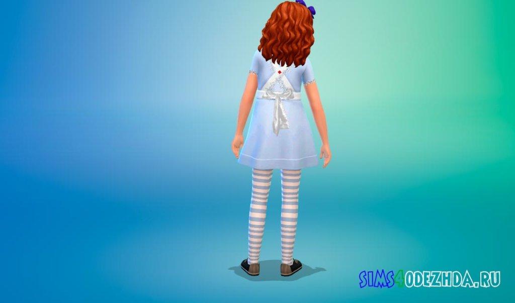 Детское платье Алисы в Стране чудес для Симс 4 - фото 3