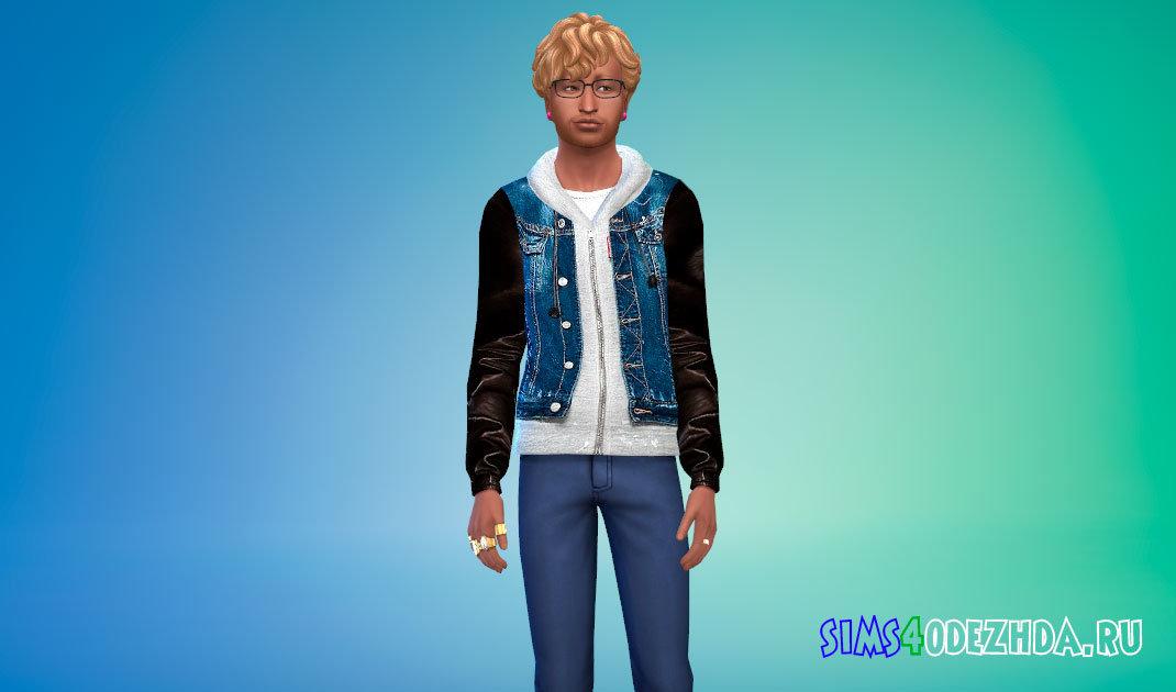 Джинсовая куртка с капюшоном для Симс 4 - фото 1