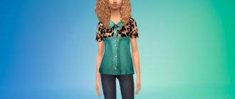 Джинсовая рубашка с пестрым принтом для Симс 4 - фото 1