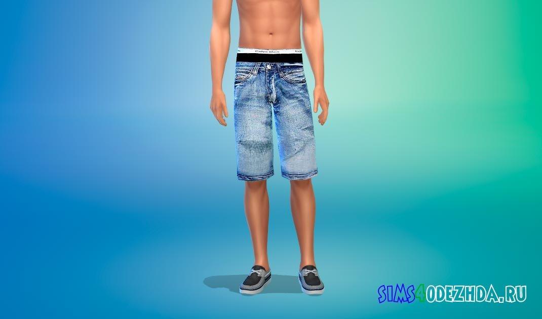 Джинсовые шорты с низкой талией для Симс 4 - фото 1