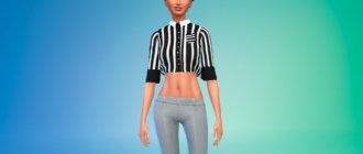 Женская укороченная рубашка для Симс 4 - фото 1