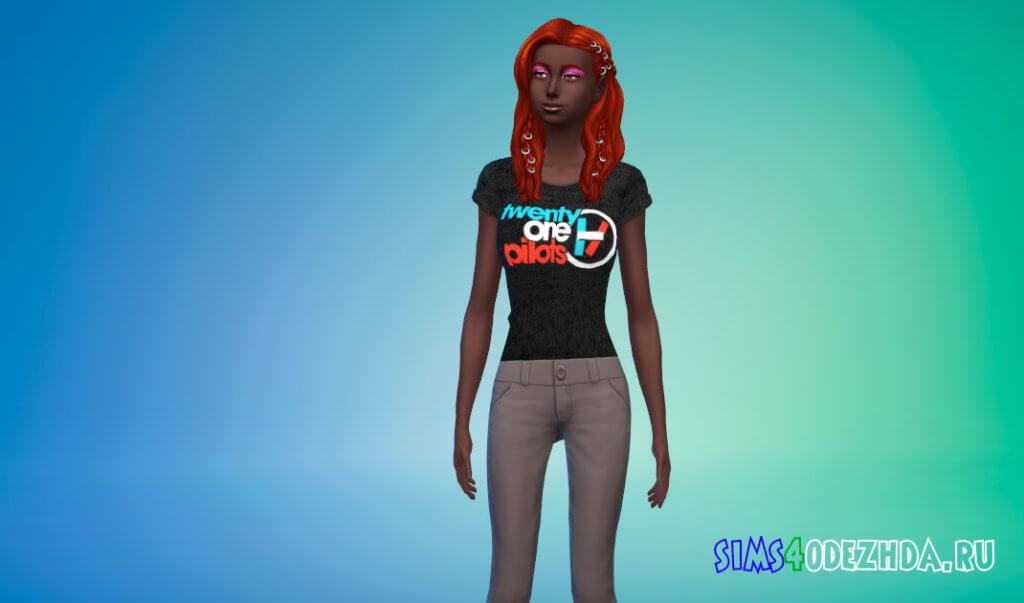 Женские футболки групп и музыкантов - 3 набор для Симс 4 - фото 1