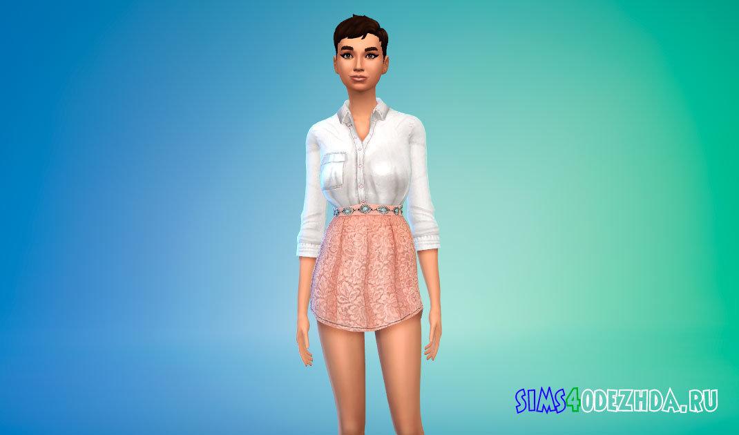 Женский яркий наряд с рубашкой для Симс 4 - фото 1