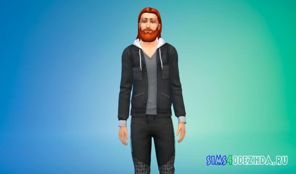 Кожаная куртка с капюшоном для Симс 4 - фото 1