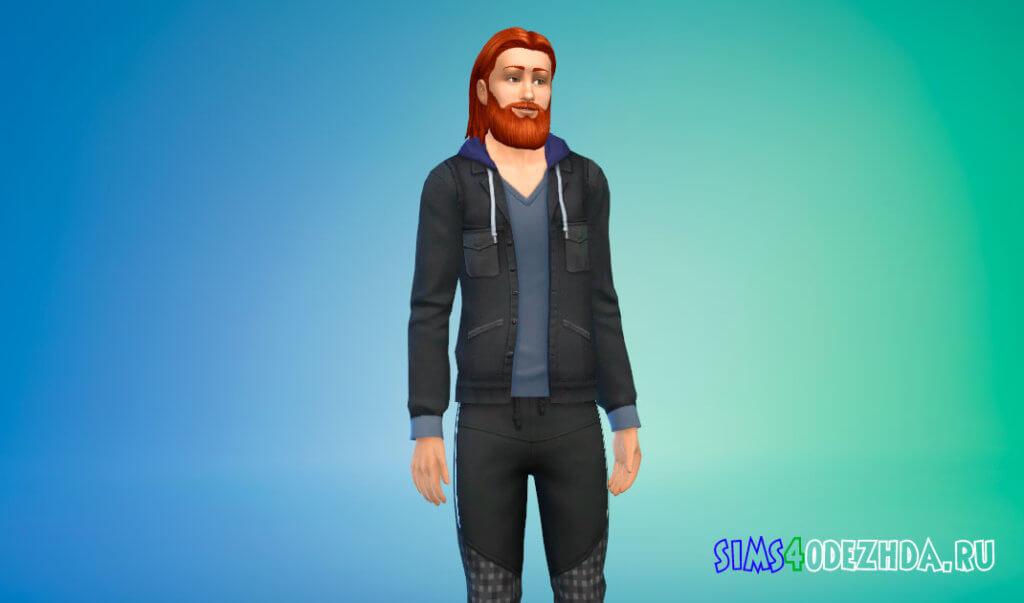 Кожаная куртка с капюшоном для Симс 4 - фото 2