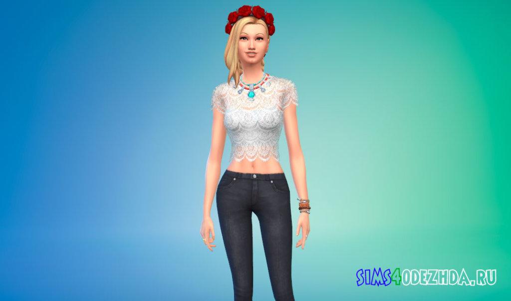 Кружевная женская блузка для Симс 4 - фото 1