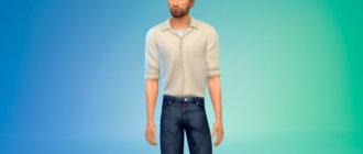 Кубинская рубашка с воротником для Симс 4 - фото 1