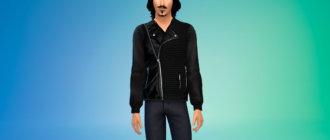Куртка мужская с трикотажными деталями для Симс 4 - фото 1