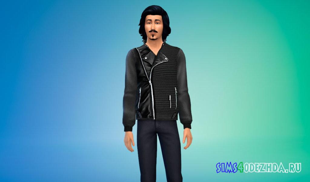 Куртка мужская с трикотажными деталями для Симс 4 - фото 3