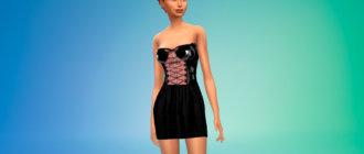 Латексное мини-платье для Симс 4 - фото 1