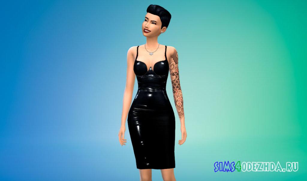 Латексное платье Ким Кардашьян для Симс 4 - фото 2