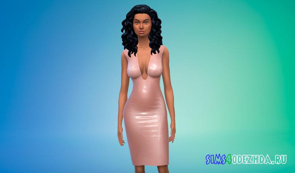 Латексное платье с глубоким вырезом для Симс 4 - фото 1