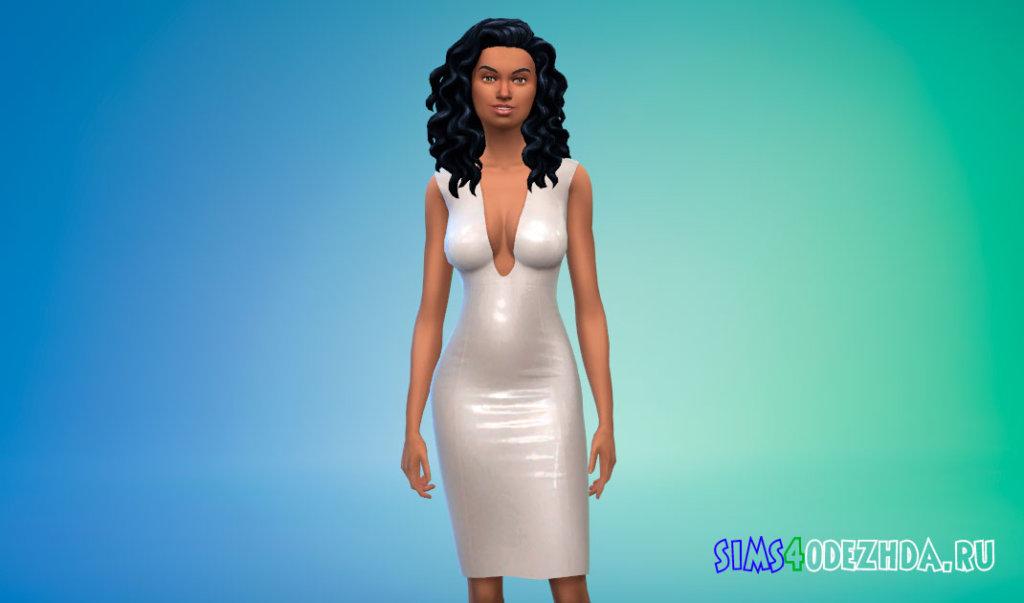 Латексное платье с глубоким вырезом для Симс 4 - фото 2