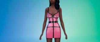 Латексное платье с полосами для Симс 4 - фото 1