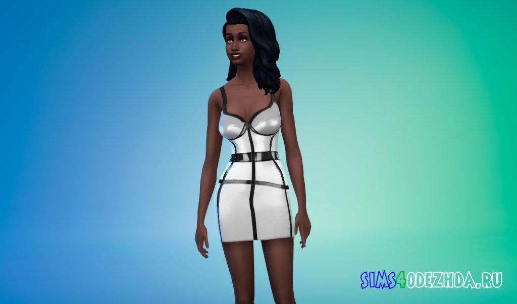 Латексное платье с полосами для Симс 4 - фото 2