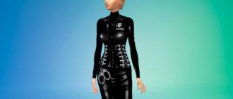 Латексный костюм женщины-полицейского для Симс 4 - фото 1