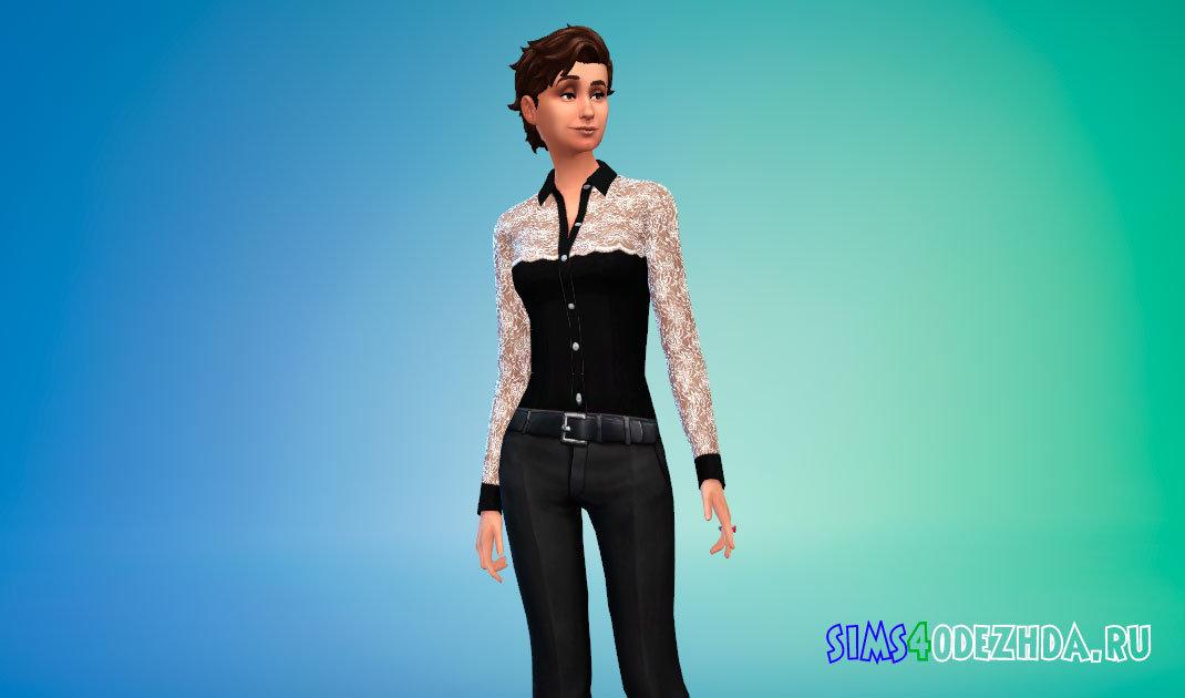 Модная женская рубашка для Симс 4 - фото 1