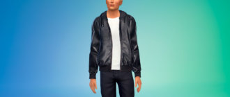 Мужская куртка бомбер из кожи для Симс 4 - фото 1