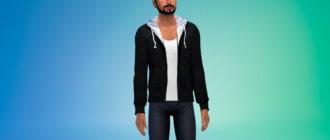 Мужская куртка с капюшоном для Симс 4 - фото 1