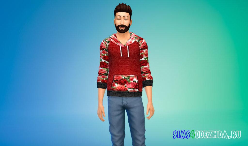 Мужская толстовка с цветами для Симс 4 - фото 1
