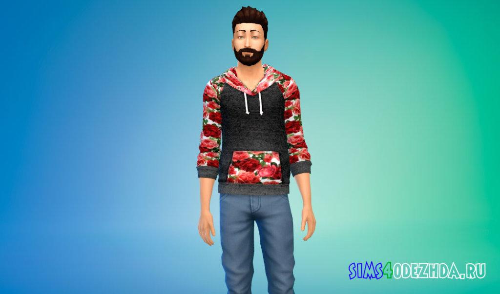 Мужская толстовка с цветами для Симс 4 - фото 2