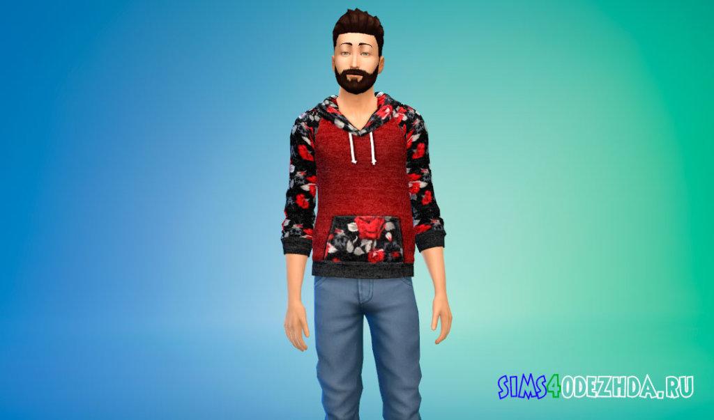 Мужская толстовка с цветами для Симс 4 - фото 3