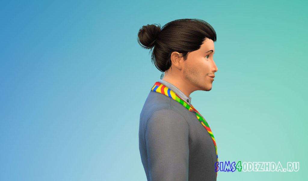 Мужские волосы с пучком для Симс 4 - фото 2