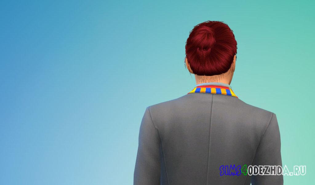 Мужские волосы с пучком для Симс 4 - фото 3