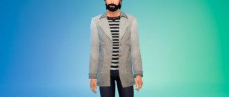 Мужское шерстяное пальто для Симс 4 - фото 1