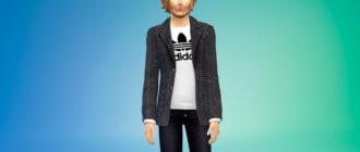 Мужской классический пиджак с футболкой для Симс 4 - фото 1
