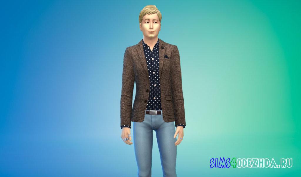 Мужской твидовый пиджак для Симс 4 - фото 1
