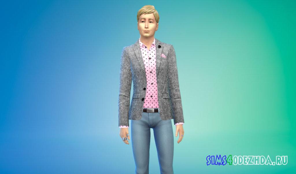 Мужской твидовый пиджак для Симс 4 - фото 2
