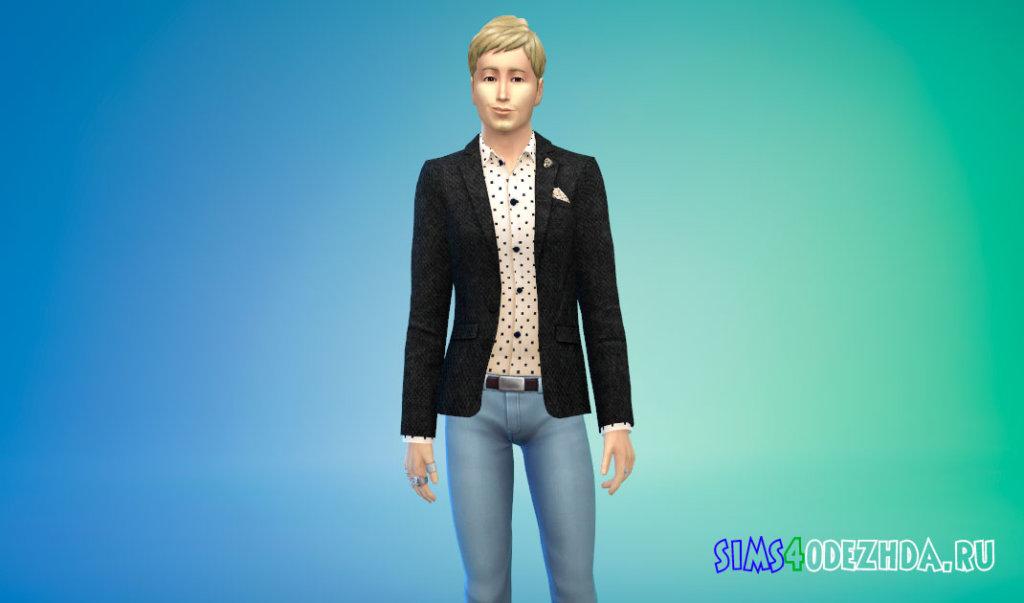 Мужской твидовый пиджак для Симс 4 - фото 3