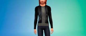 Облегающая мужская кожаная куртка для Симс 4 - фото 1