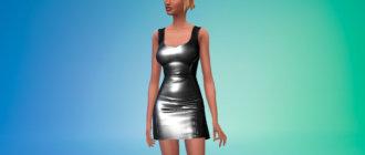 Обтягивающее латексное платье Ким Кардашьян для Симс 4 - фото 1