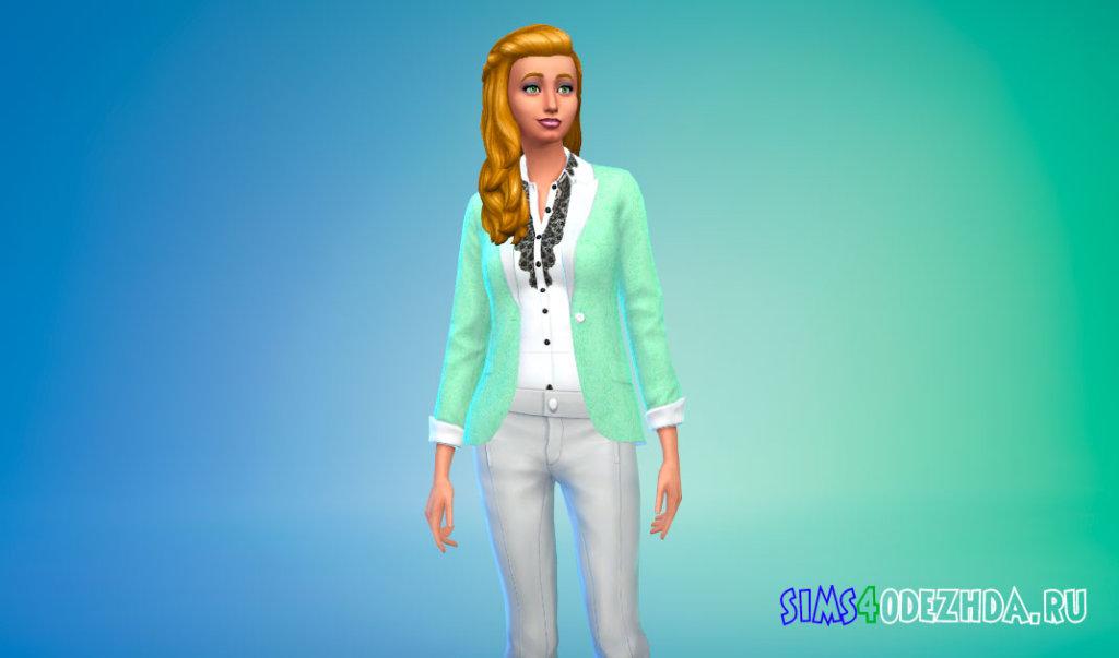 Пиджак в пастельных цветах для Симс 4 - фото 2