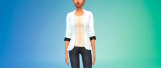 Пиджак с кружевной блузкой для Симс 4 - фото 1